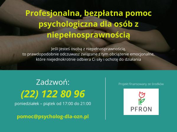 Bezpłatna pomoc psychologiczna dla osób z niepełnosprawnościami